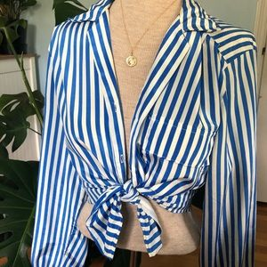Vintage Blue and White Striped Button Down